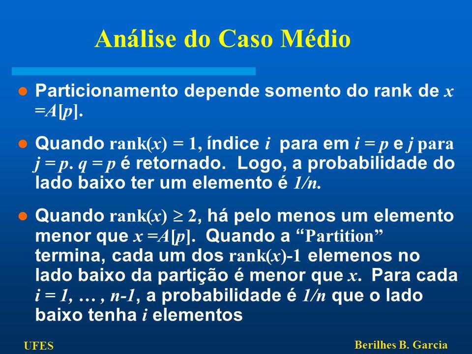 Análise do Caso Médio Particionamento depende somento do rank de x =A[p].